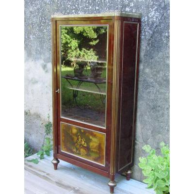 Small Library Of Entre-deux Style Louis XVI 1900 Vernis Martin Vitrine