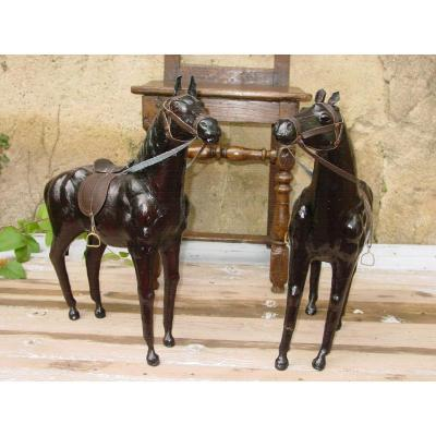 2 Large Black Horses In Leather Circa 1970