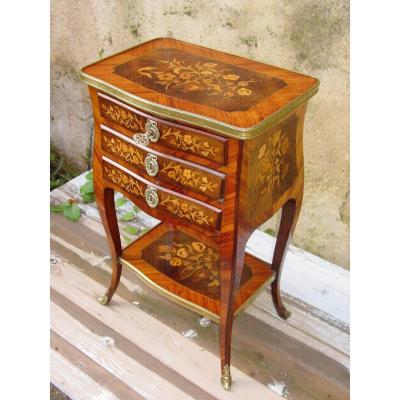 Table De Salon Napoléon III Style Louis XV Chevet Marqueterie