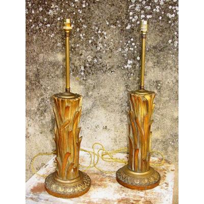 Pair Of Lamps With Golden Wood Decor Carved With Palm Feet