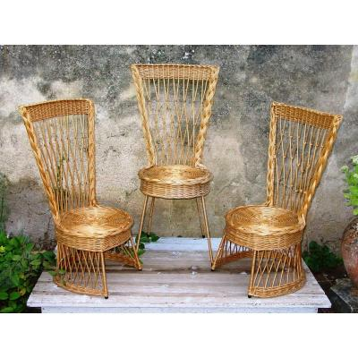 2 Fireside Chairs & 1 French Or Italian Wicker Chair From The Sixties Rattan
