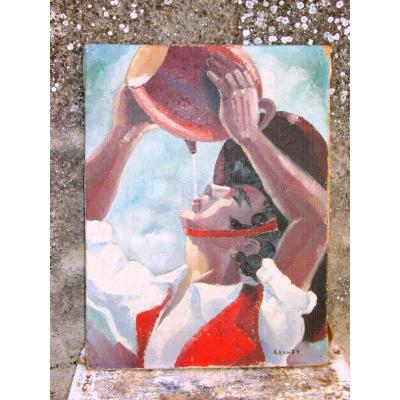 Basque Drinking Oil On Canvas Signed