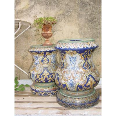 2 Pedestal Sheaths In Earthenware From Nevers Fabrique Montagnon