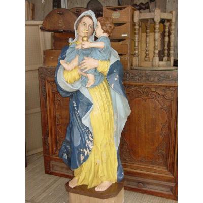 Large Sculpture Virgin & Child Wood 19th Century