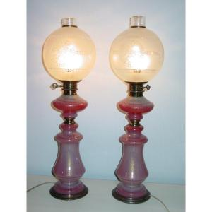 Pair Of Murano Lamps Or Consorts 1960 Styl Charles X Decor Opaline Gorge De Pigeon Gold Spangles