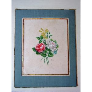 Bouquet Of Roses In Gouache From The 19th Century Monogram: Rc