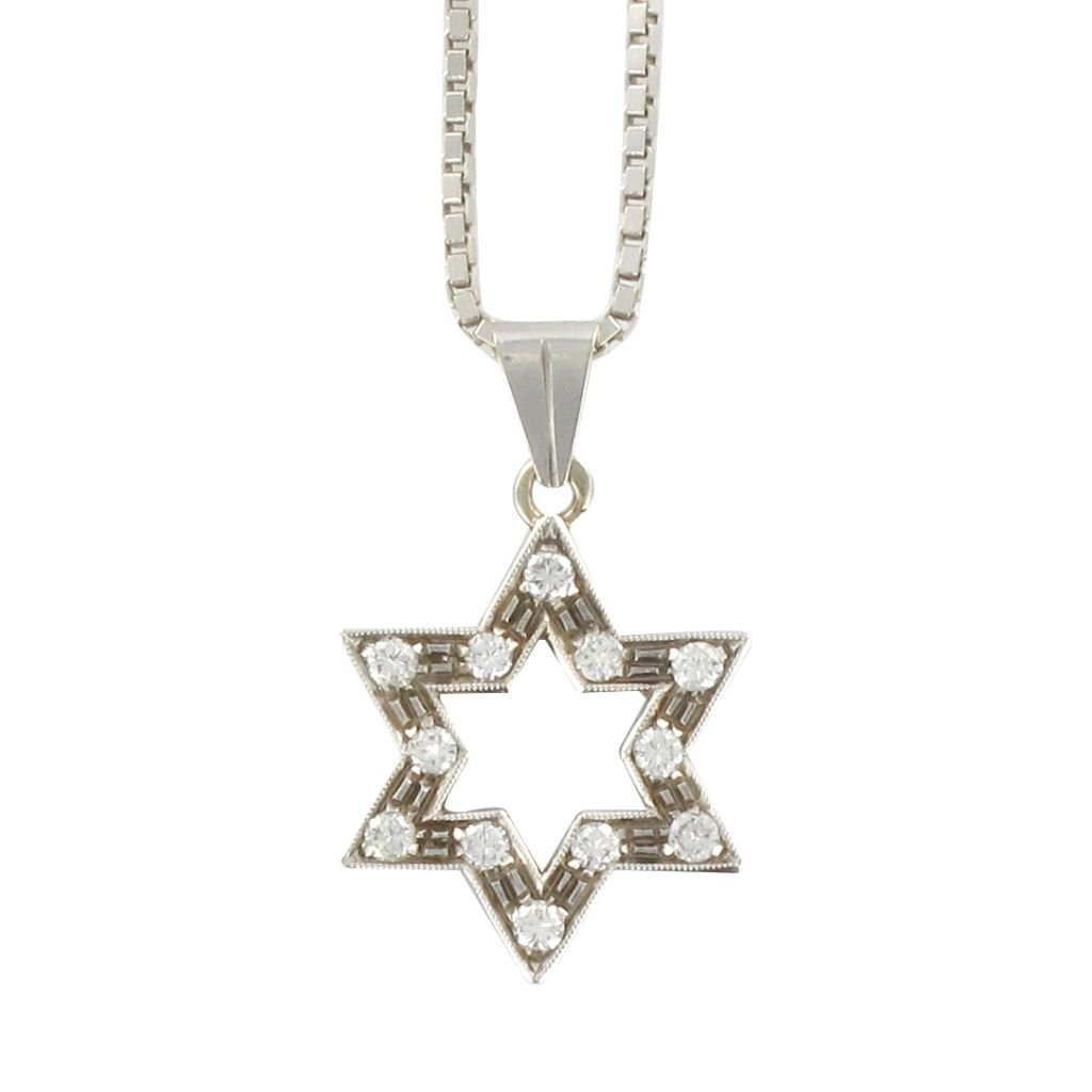 Pendentif Ancien Etoile Diamants Et Sa Chaîne