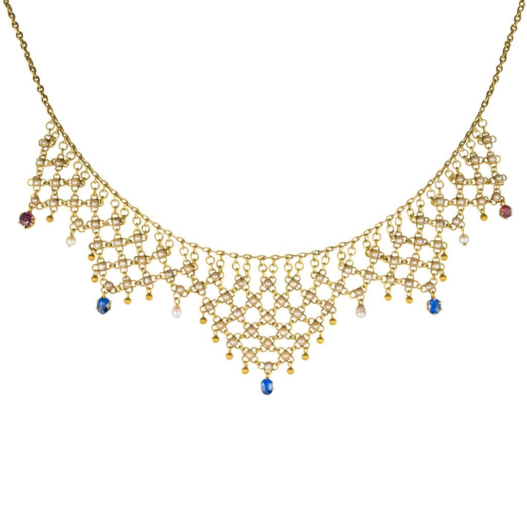 Drapery Old Gold Necklace And Beads Ruby Sapphires 18k Yellow Gold