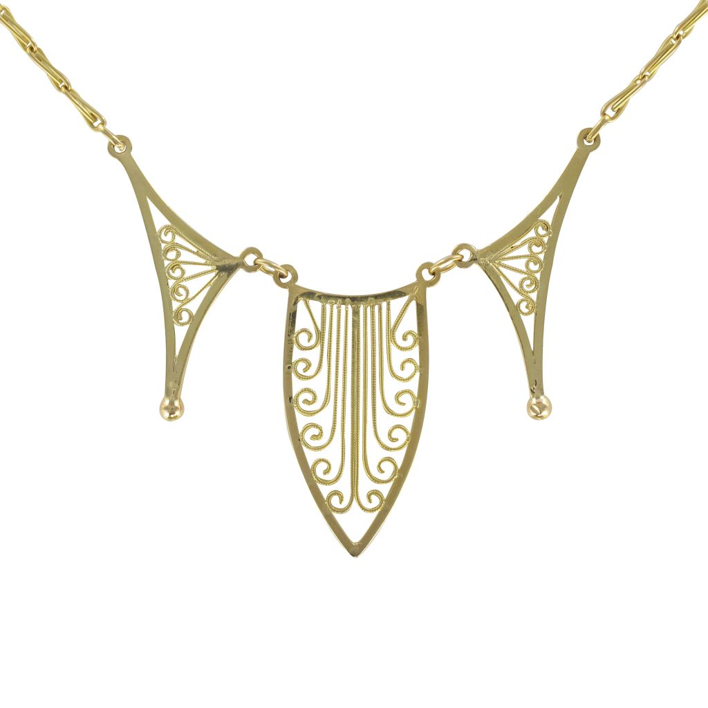 Collier Or Jaune Motif Filigrané