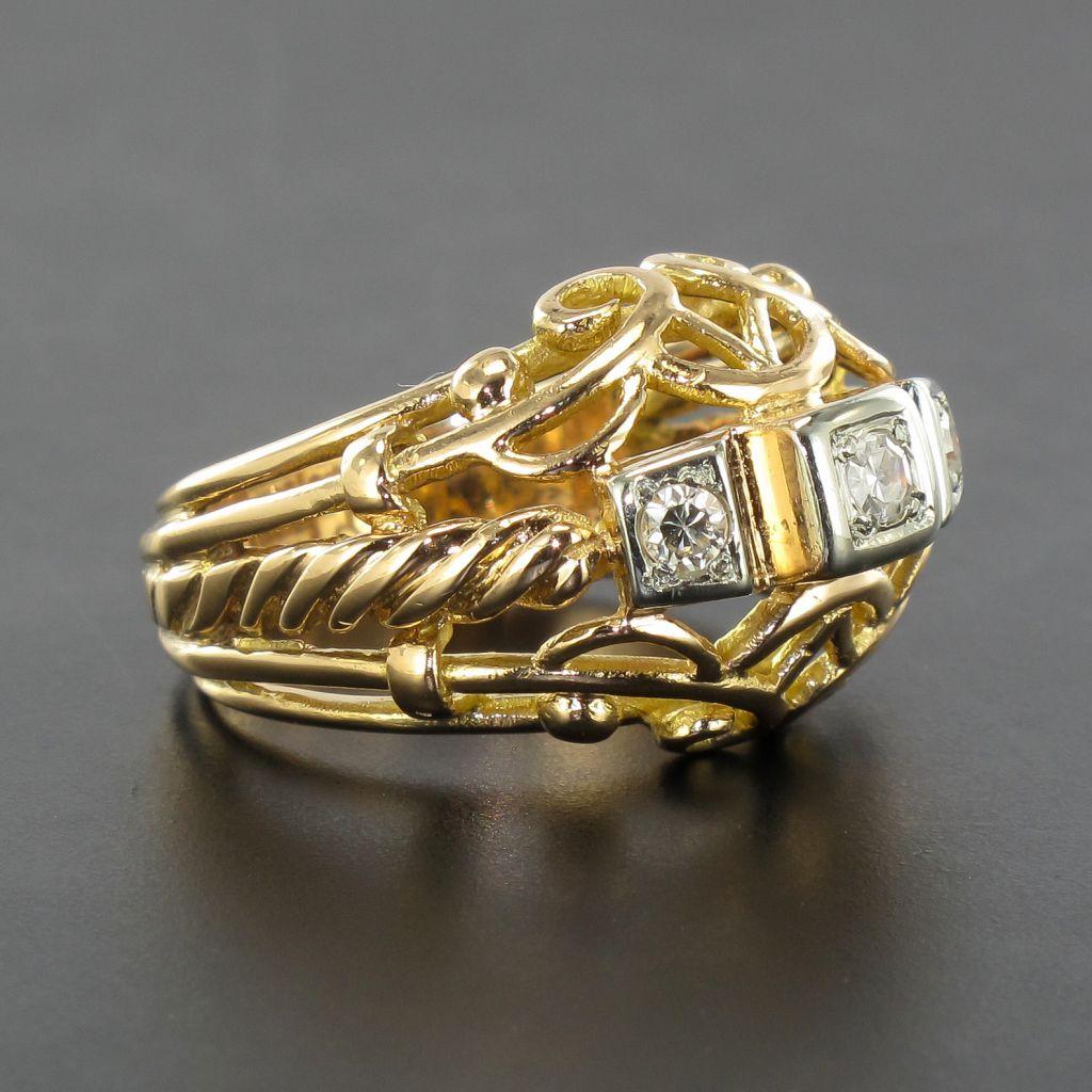 Bijoux Anciens Retro : Bague vintage fils d or rose et diamants bijoux anciens