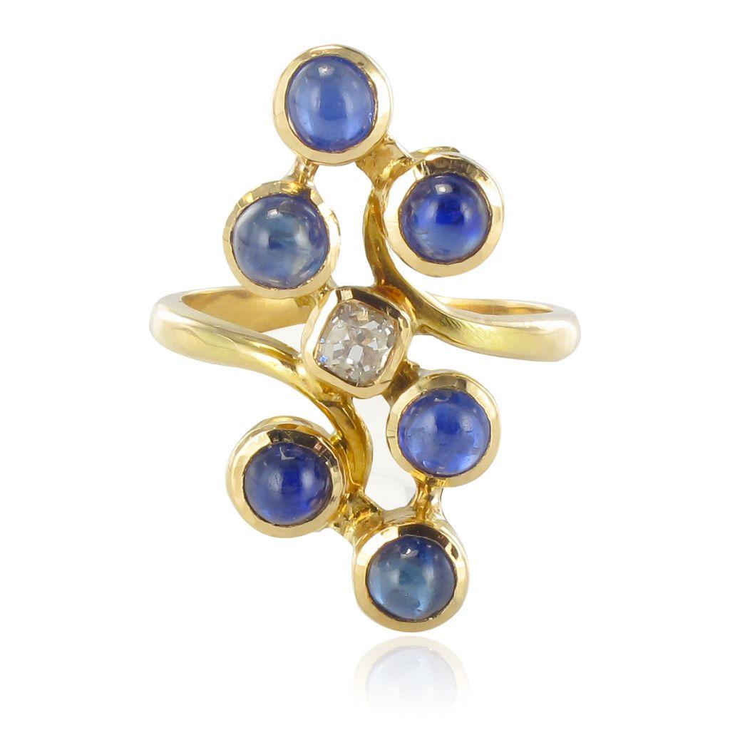 Bague Diamant Saphirs Moderniste