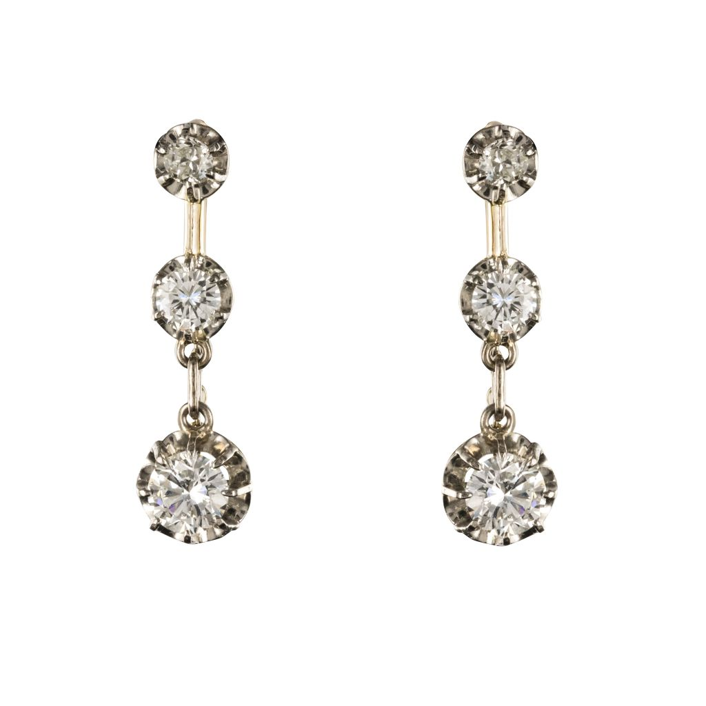 Pierced Earrings Diamonds 19th Century