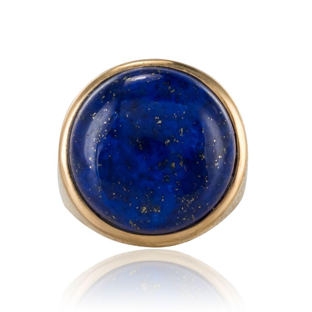 Lapis Lazuli Yellow Gold Chiseled Ring