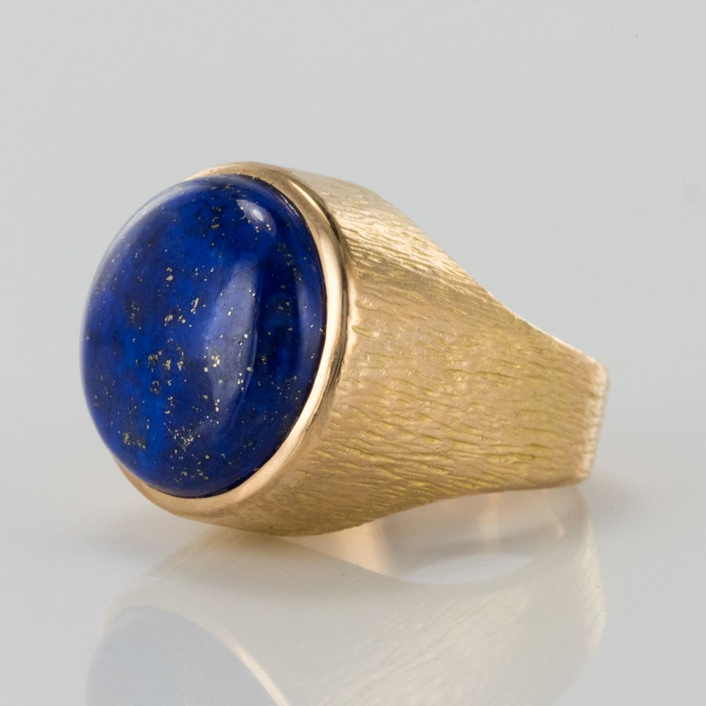 Lapis Lazuli Yellow Gold Chiseled Ring-photo-3