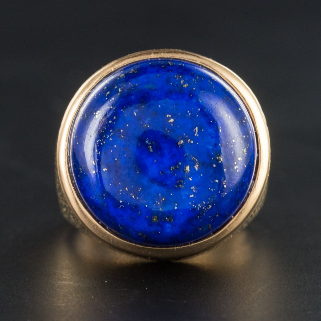 Lapis Lazuli Yellow Gold Chiseled Ring-photo-2