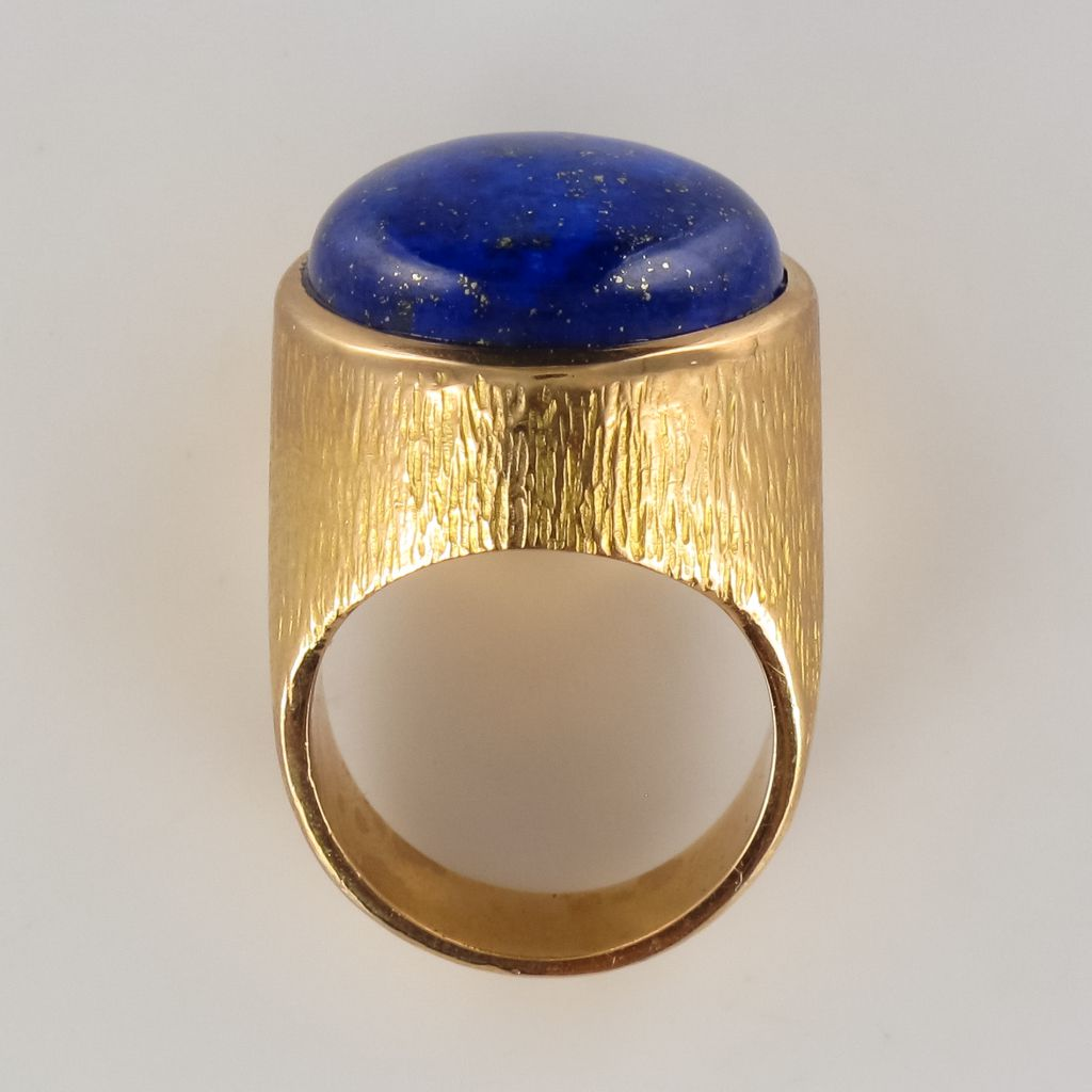 Lapis Lazuli Yellow Gold Chiseled Ring-photo-4