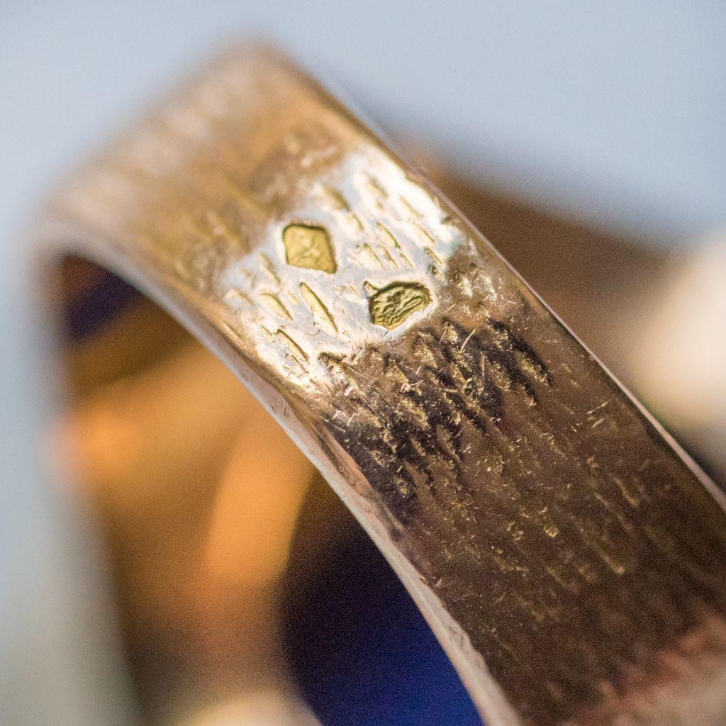 Lapis Lazuli Yellow Gold Chiseled Ring-photo-6