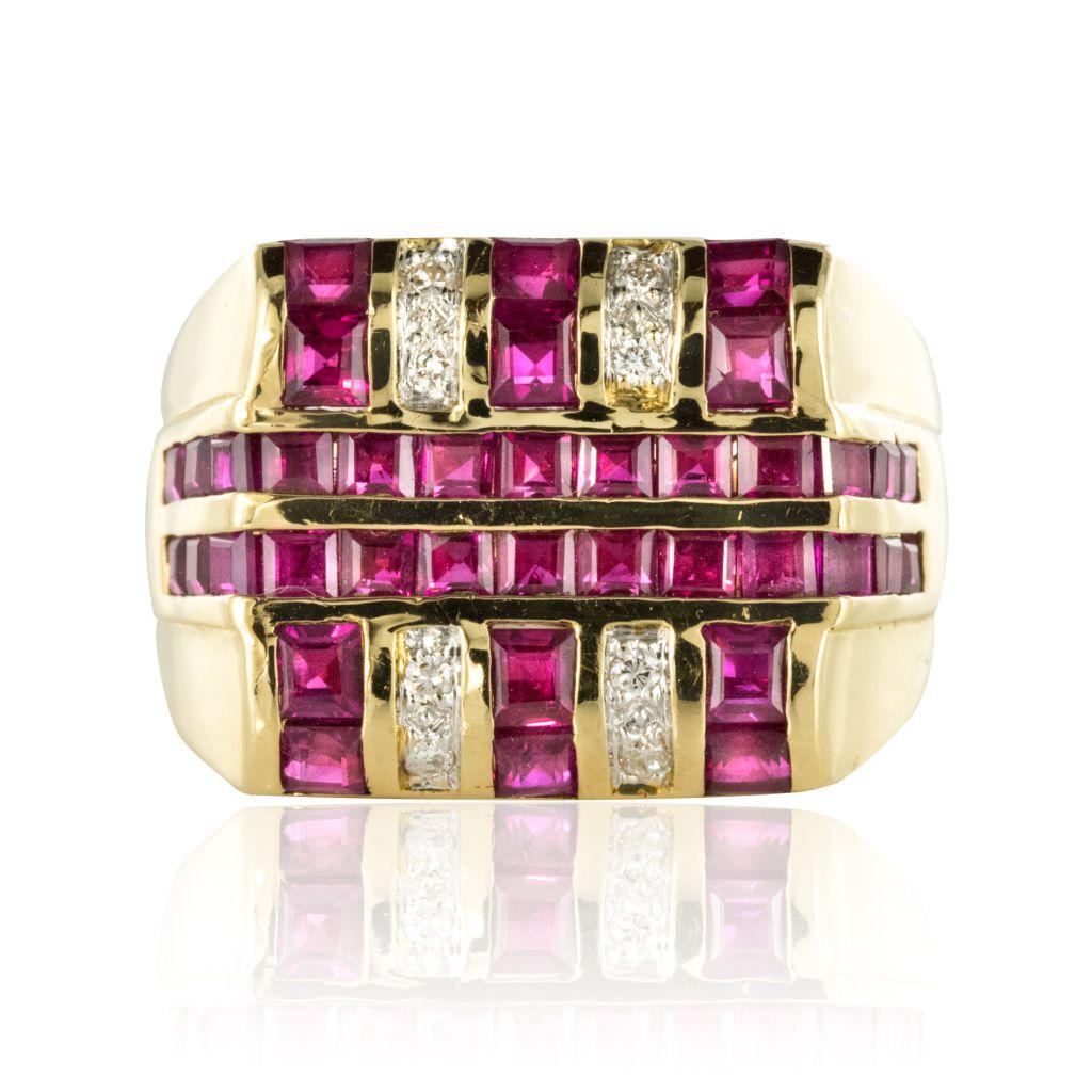 Chevalière Rubis Diamants
