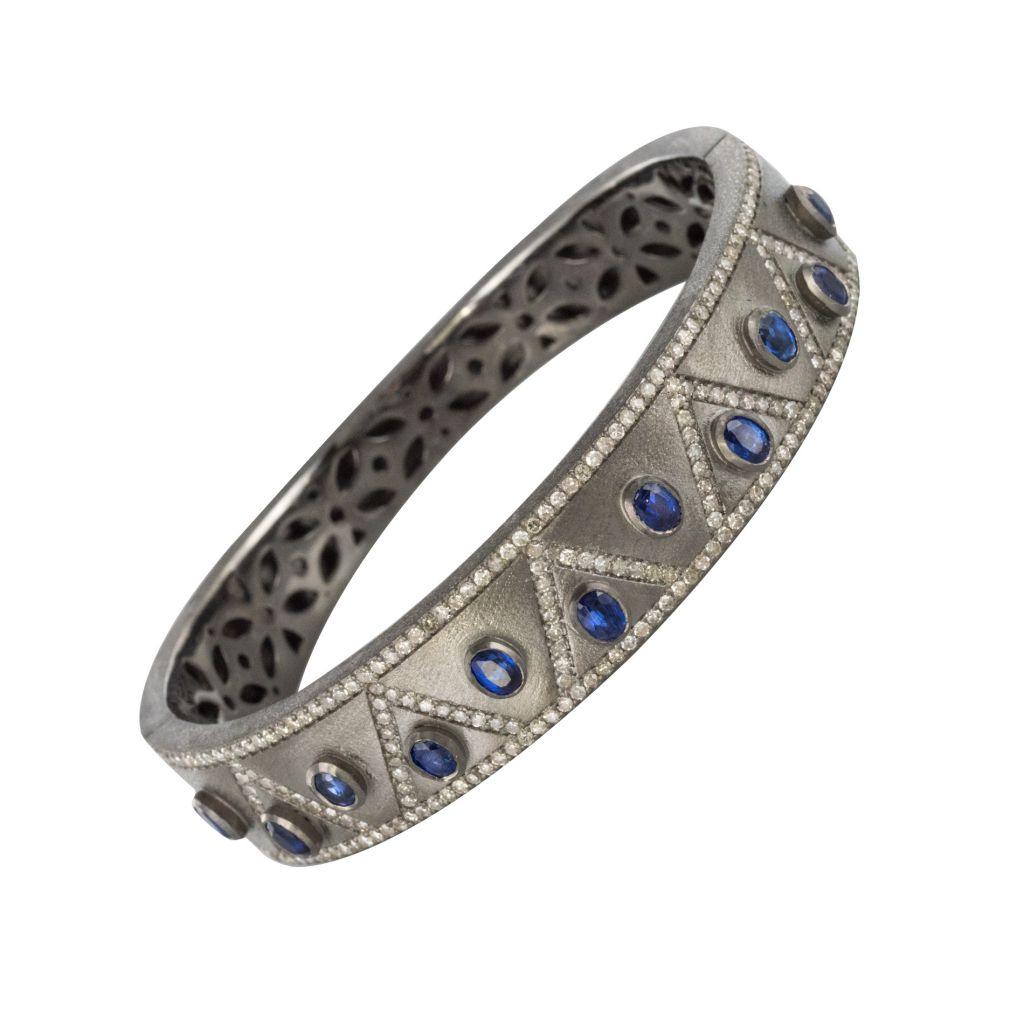 Bracelet Argent Diamants Et Cyanites