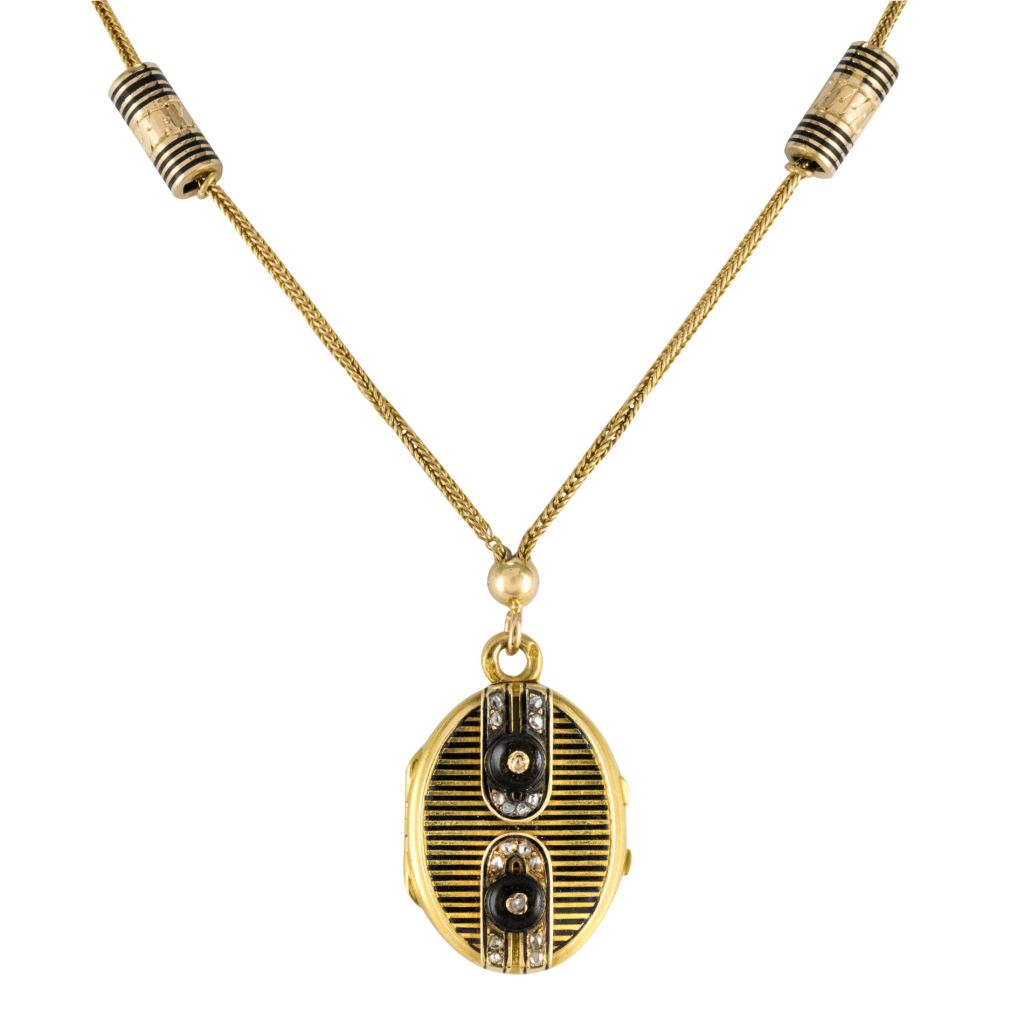 Necklace Old Medallion And Glazing Enamels And Diamonds