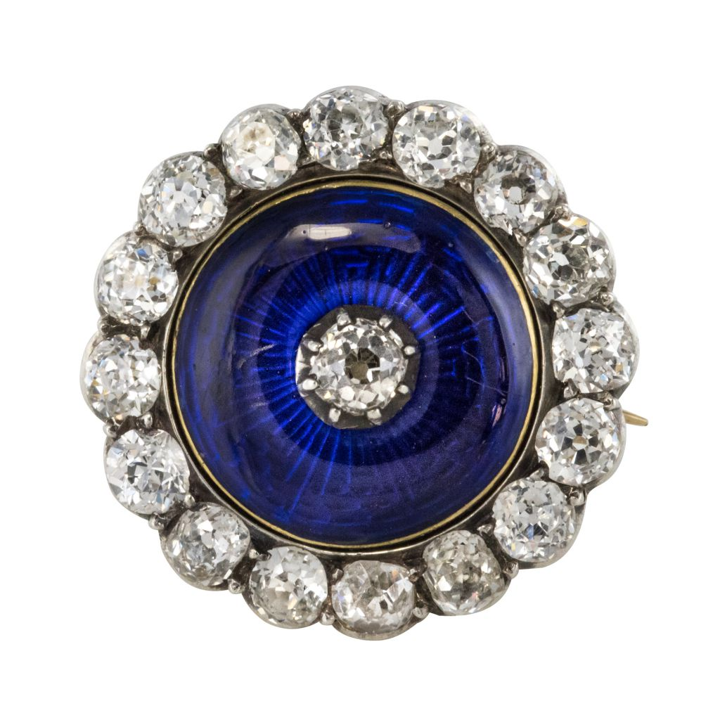 Broche Ancienne Asprey émail Bleu Et Diamants