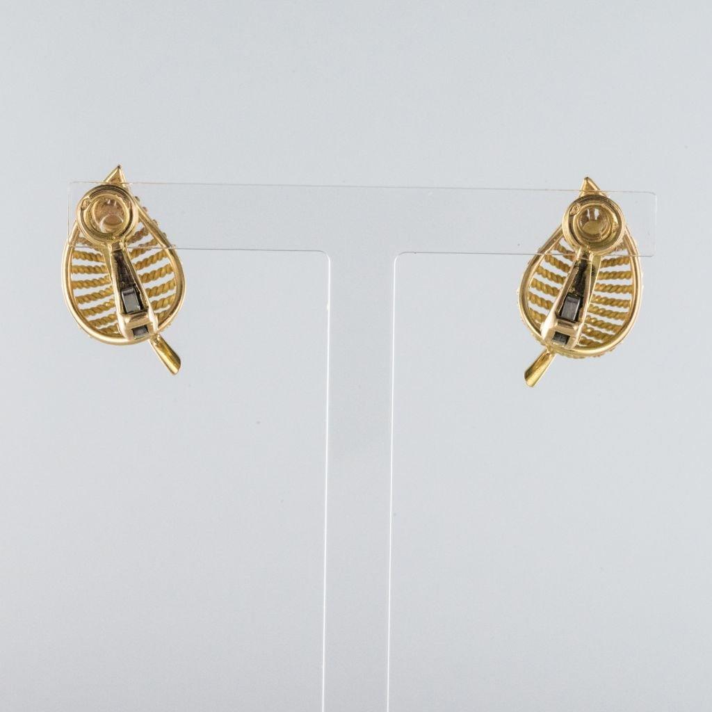 Boucles d'Oreilles Clips Feuilles d'Or-photo-2