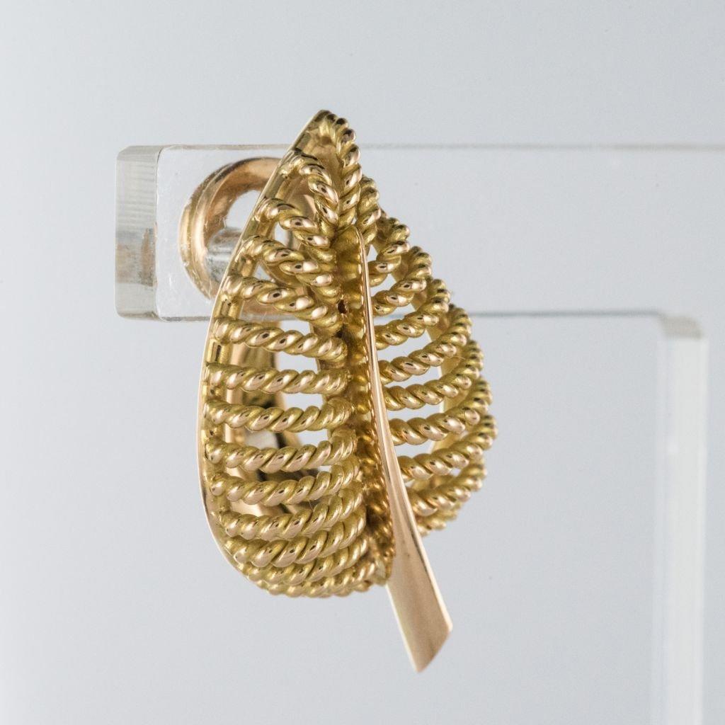 Boucles d'Oreilles Clips Feuilles d'Or-photo-3
