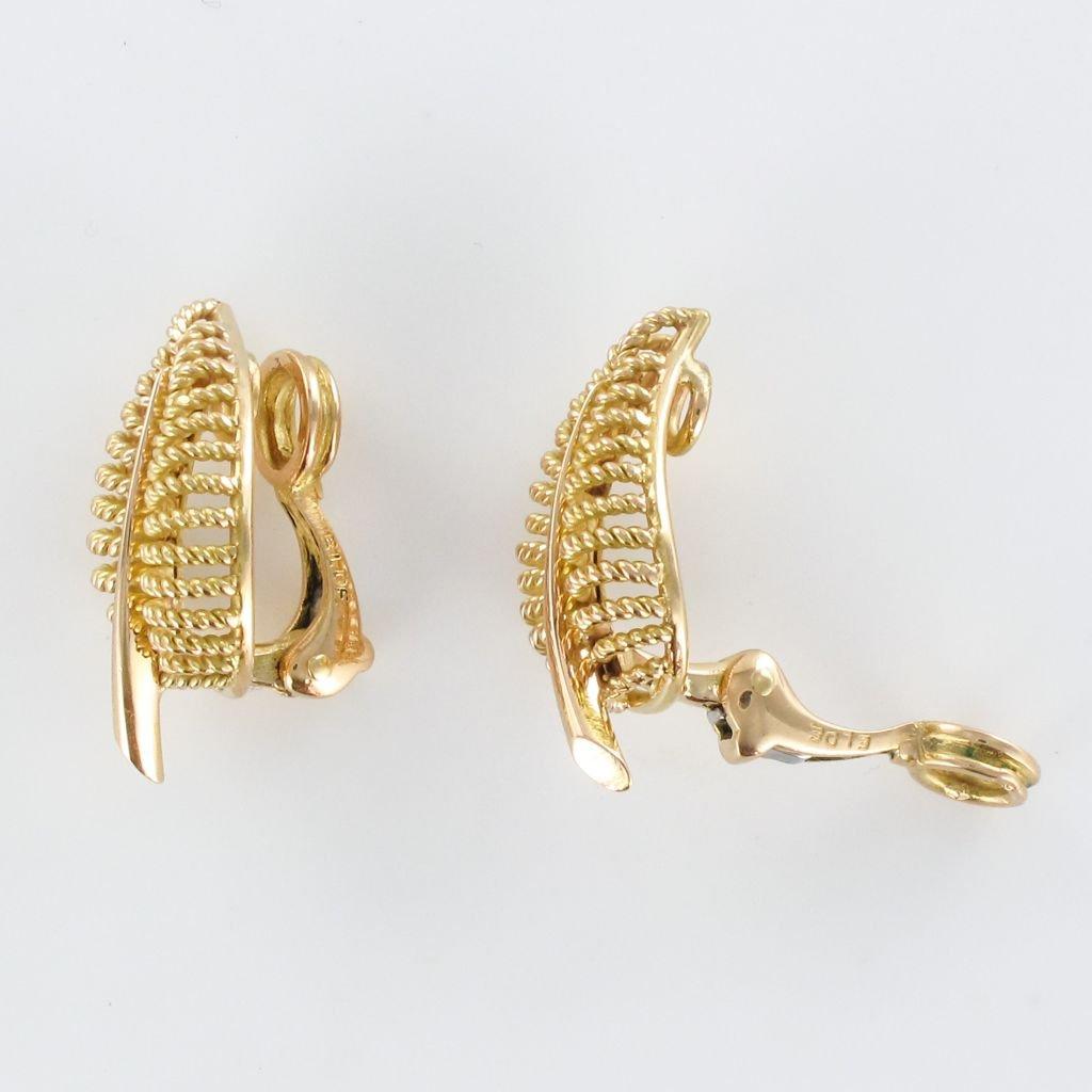 Boucles d'Oreilles Clips Feuilles d'Or-photo-5