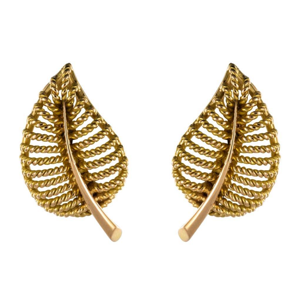 Boucles d'Oreilles Clips Feuilles d'Or