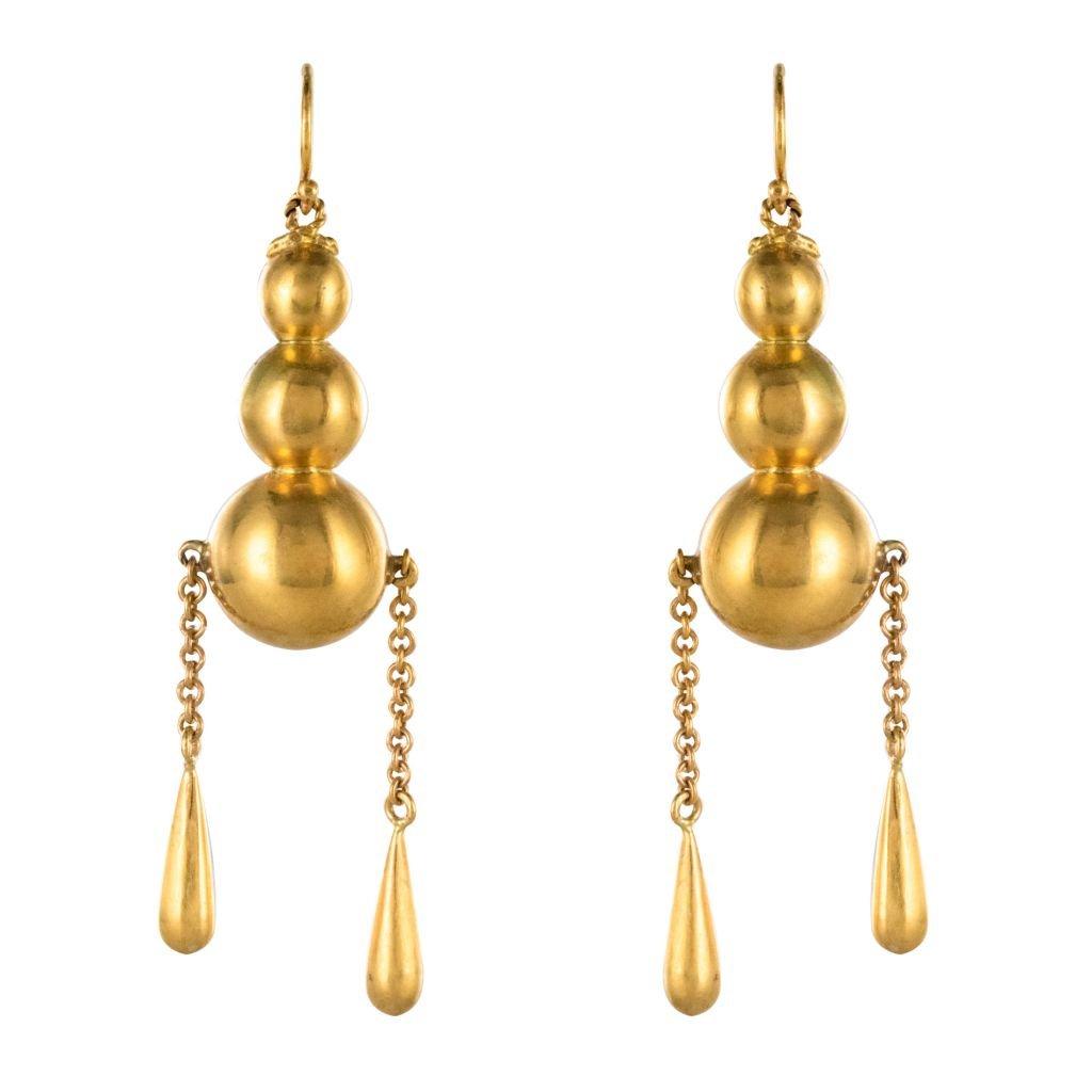 Boucles d'Oreilles Pendantes Perles Et Gouttes d'Or