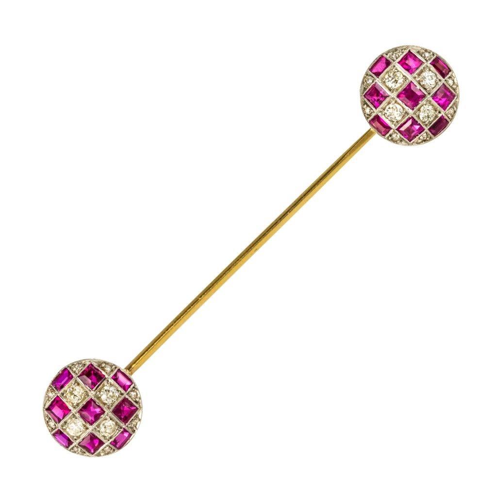 Epingle De Jabot Diamants Rubis
