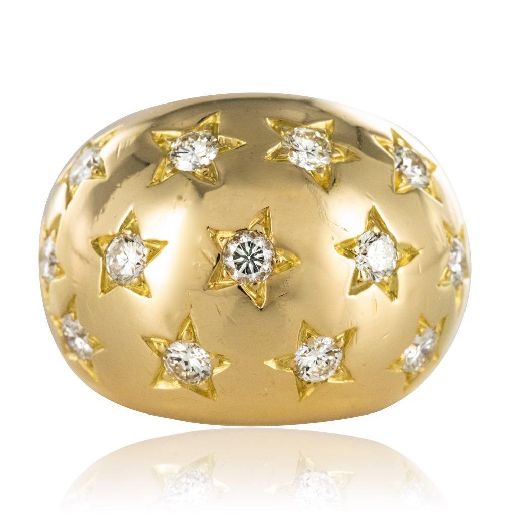 """Bague dite """"constellation"""" diamants en sertis étoilés"""