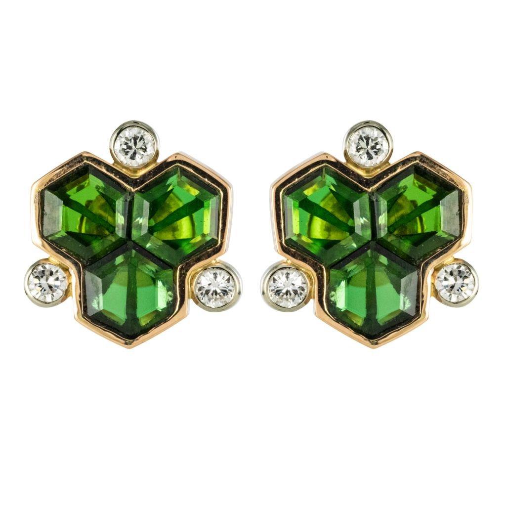 Boucles d'Oreilles Tourmalines Et Diamants