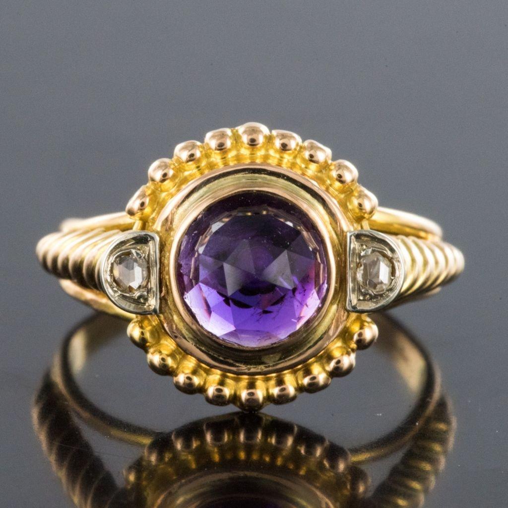 Bague Améthyste Et Diamants Ancienne-photo-3