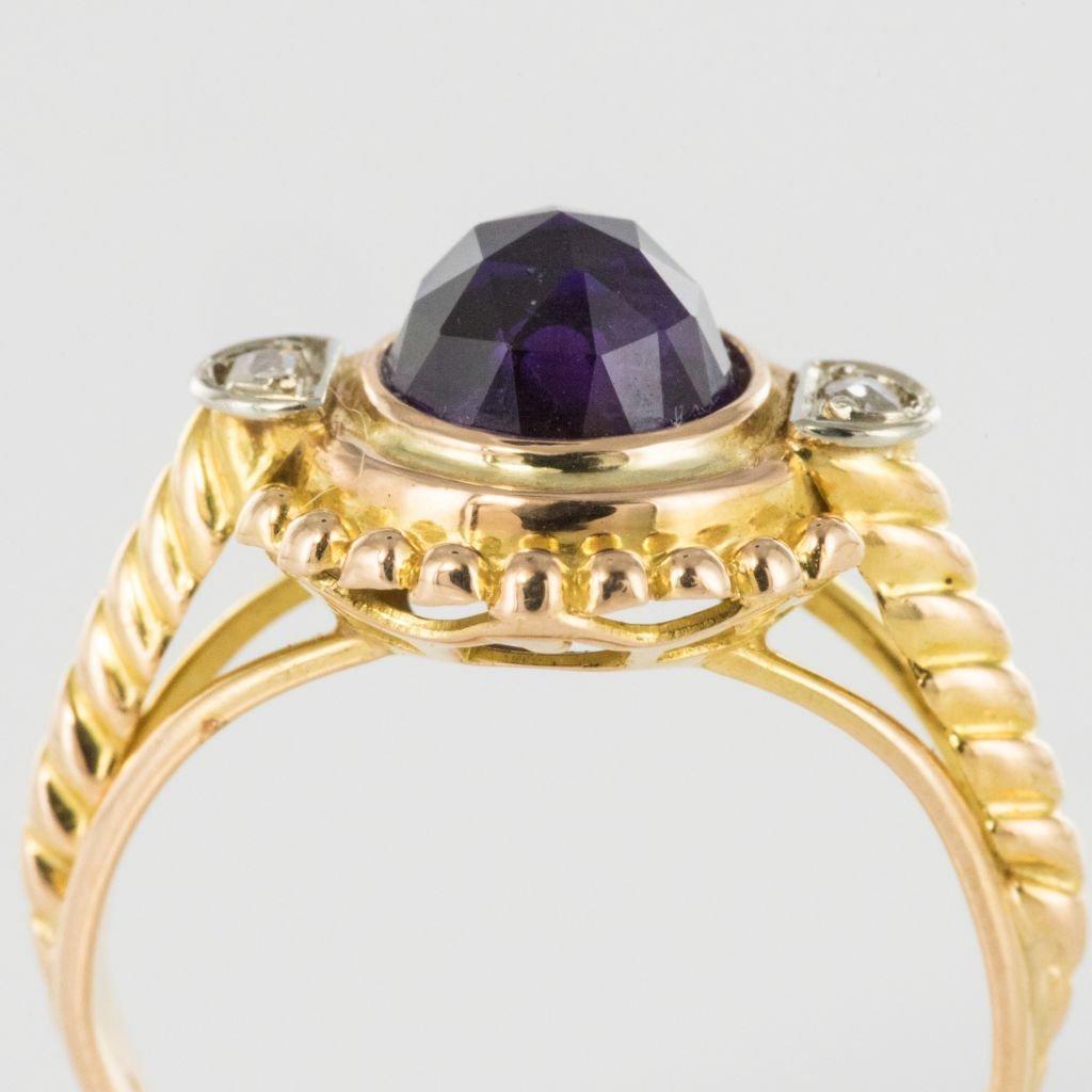 Bague Améthyste Et Diamants Ancienne-photo-5