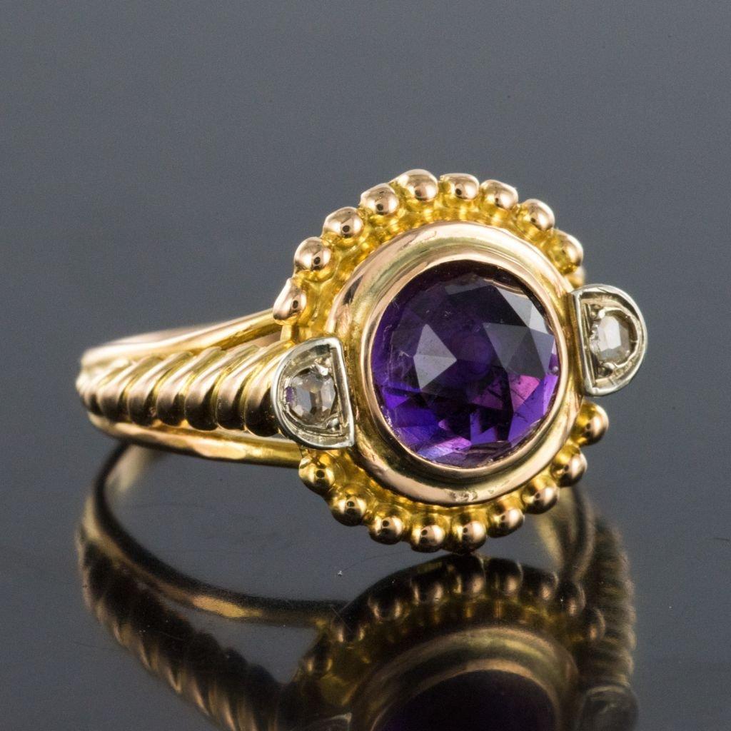 Bague Améthyste Et Diamants Ancienne-photo-6