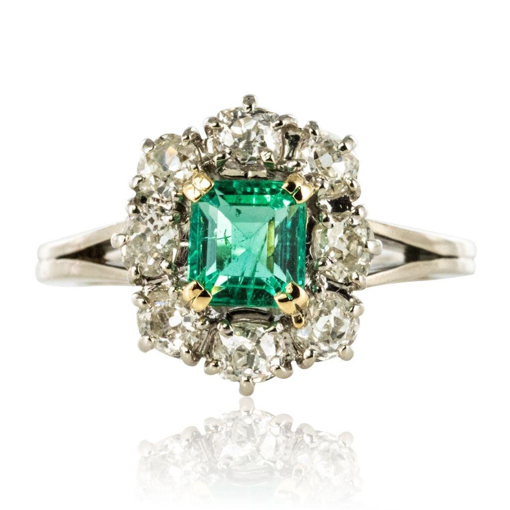 Bague Marguerite émeraude Et Diamants