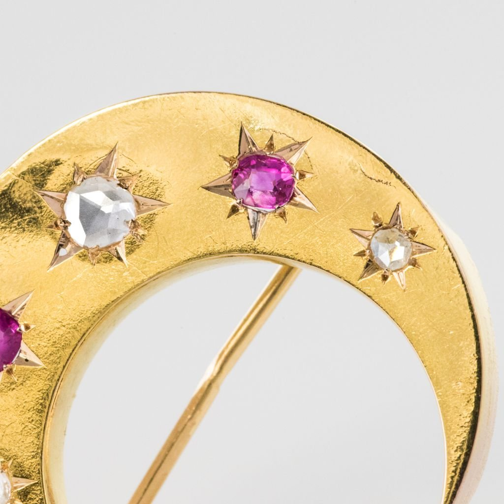 Old Crescent Ruby Diamond Brooch-photo-1
