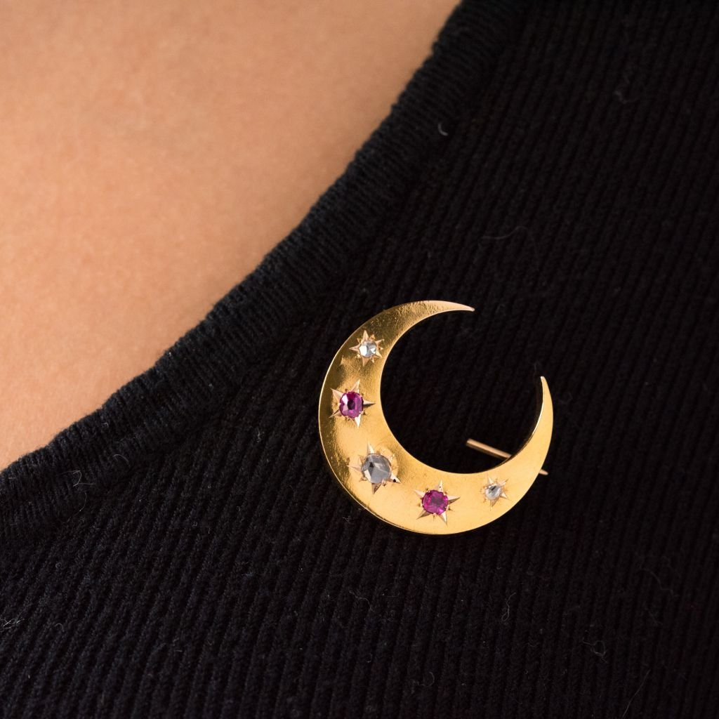 Old Crescent Ruby Diamond Brooch-photo-2