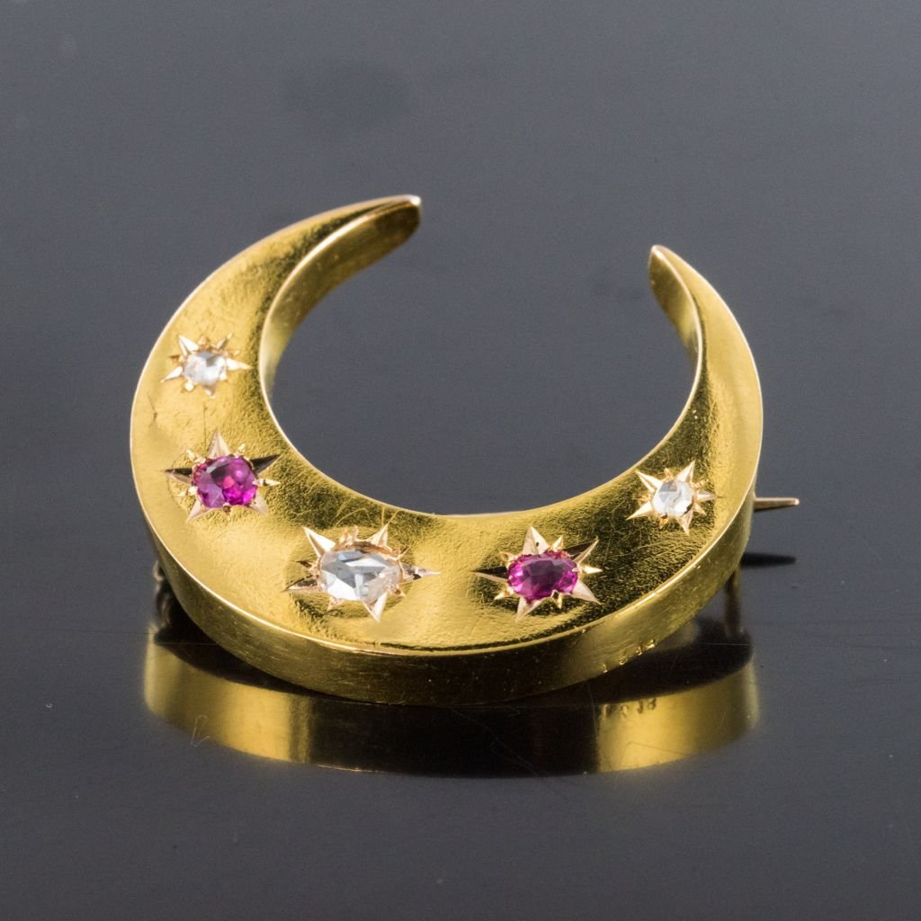 Old Crescent Ruby Diamond Brooch-photo-3