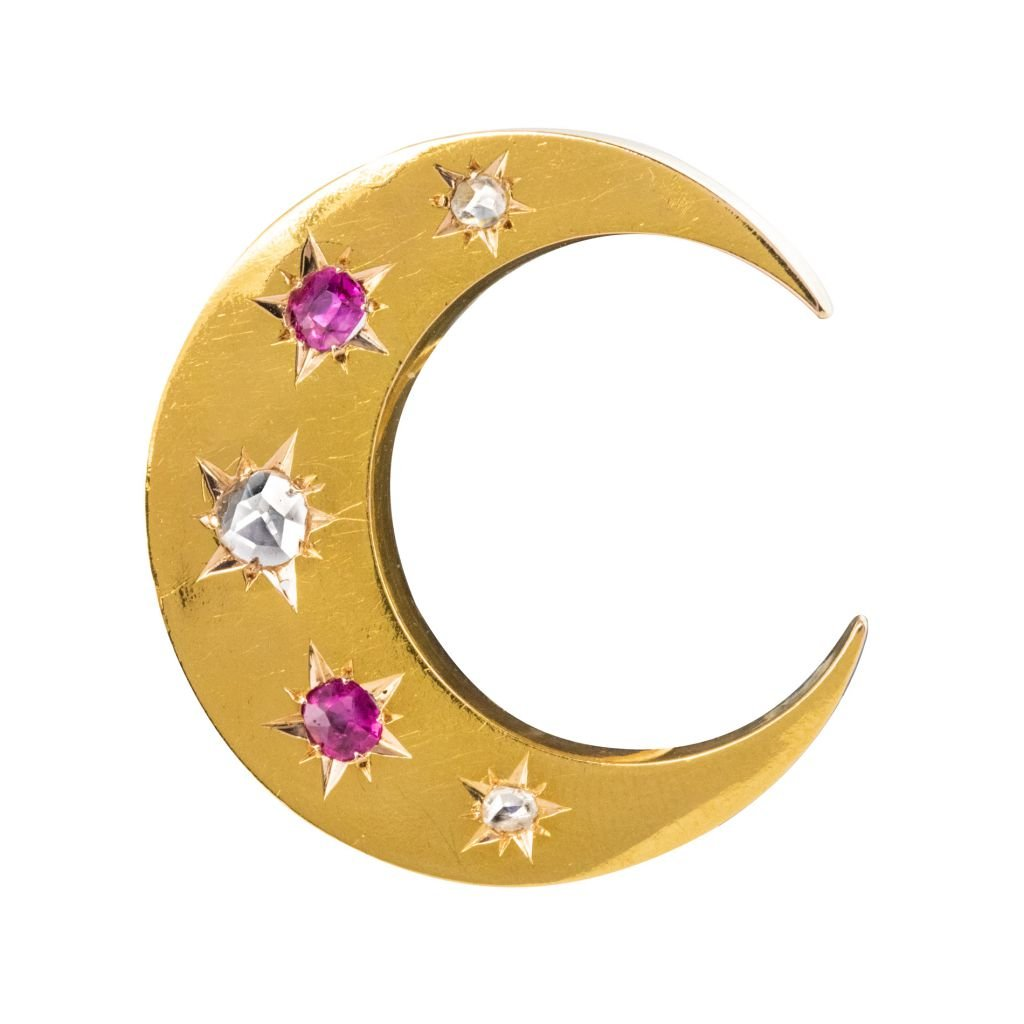 Old Crescent Ruby Diamond Brooch