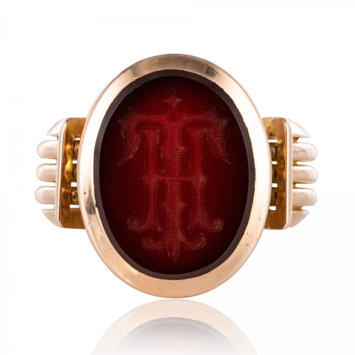Gold And Intaglio Signet Ring On Carnelian
