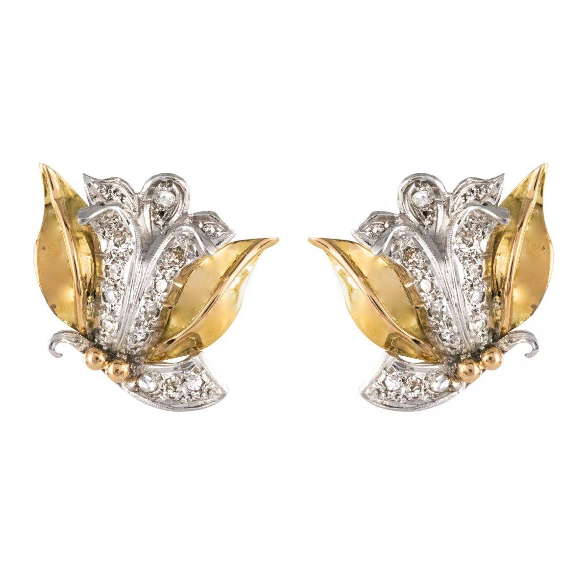 Vintage Flowers Diamond Earrings