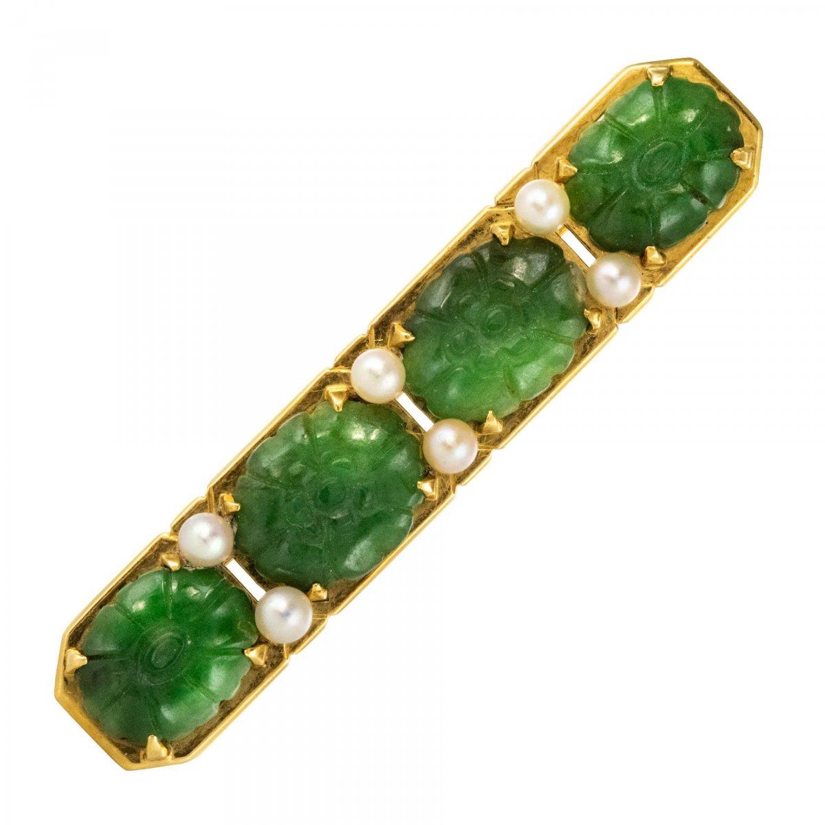 Brooch Jades Line And Pearls
