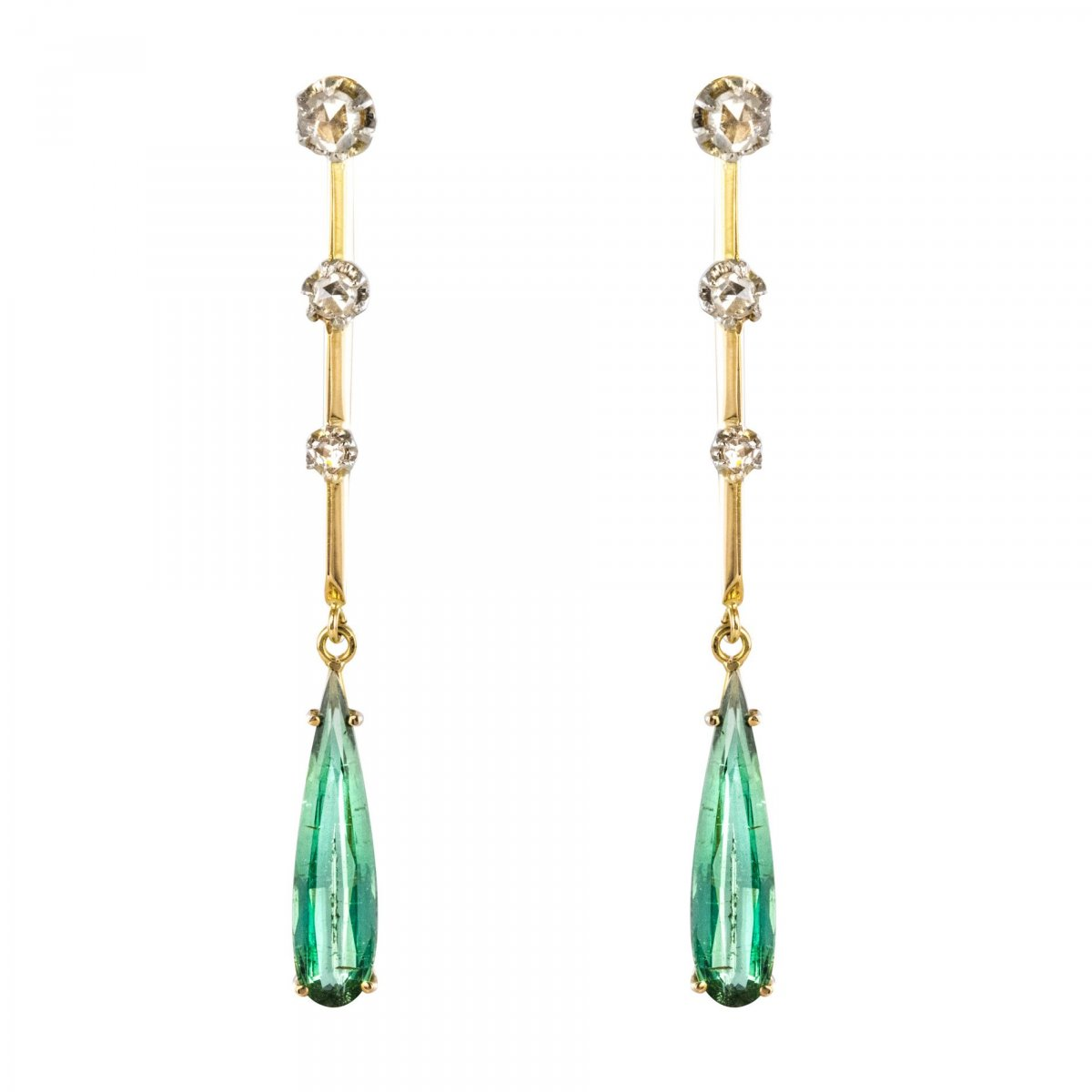 Antique Diamond And Tourmaline Drop Earrings