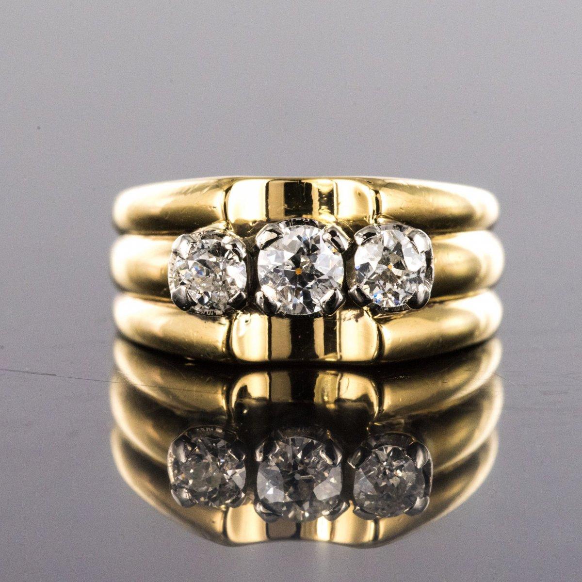 Bague Tank Or Jaune 3 Diamants-photo-4