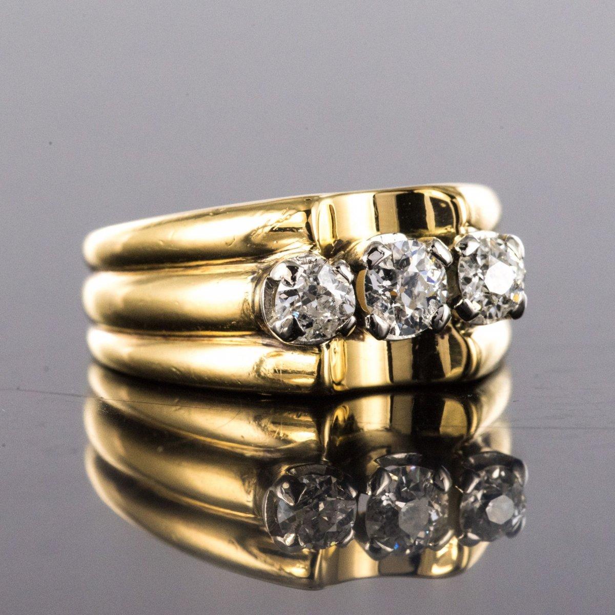 Bague Tank Or Jaune 3 Diamants-photo-6