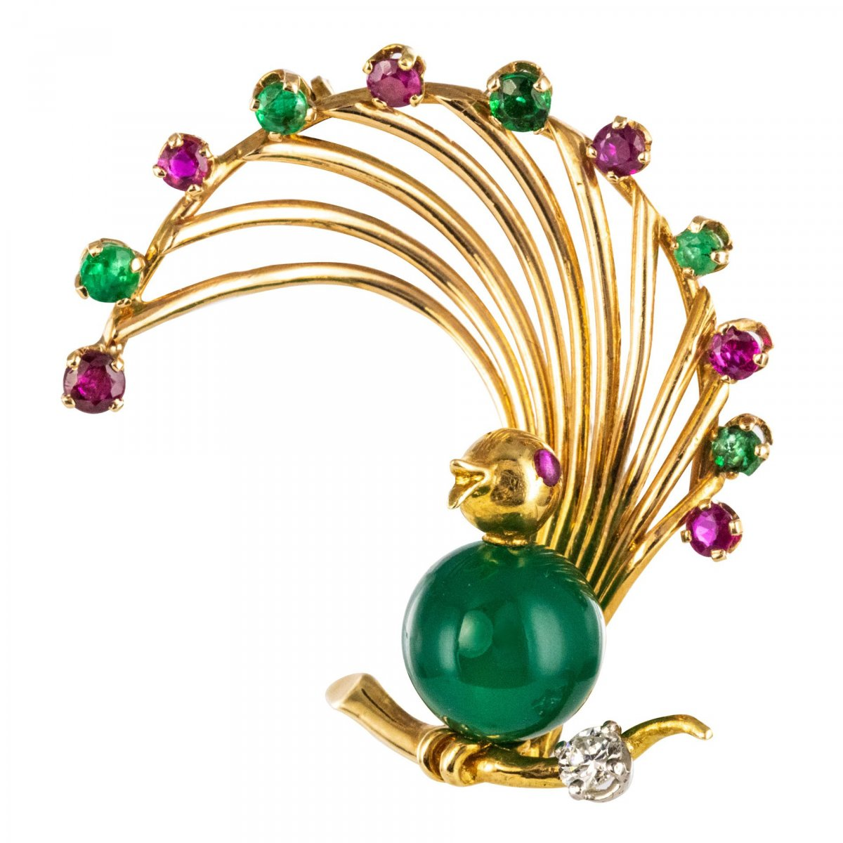 Vintage Brooch Bird Ruby Emerald Chrysoprase And Diamond