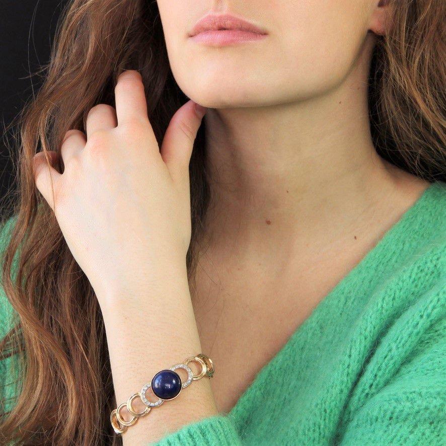 Gold Bracelet With Diamonds And Its Lapis Lazuli Cabochon-photo-2