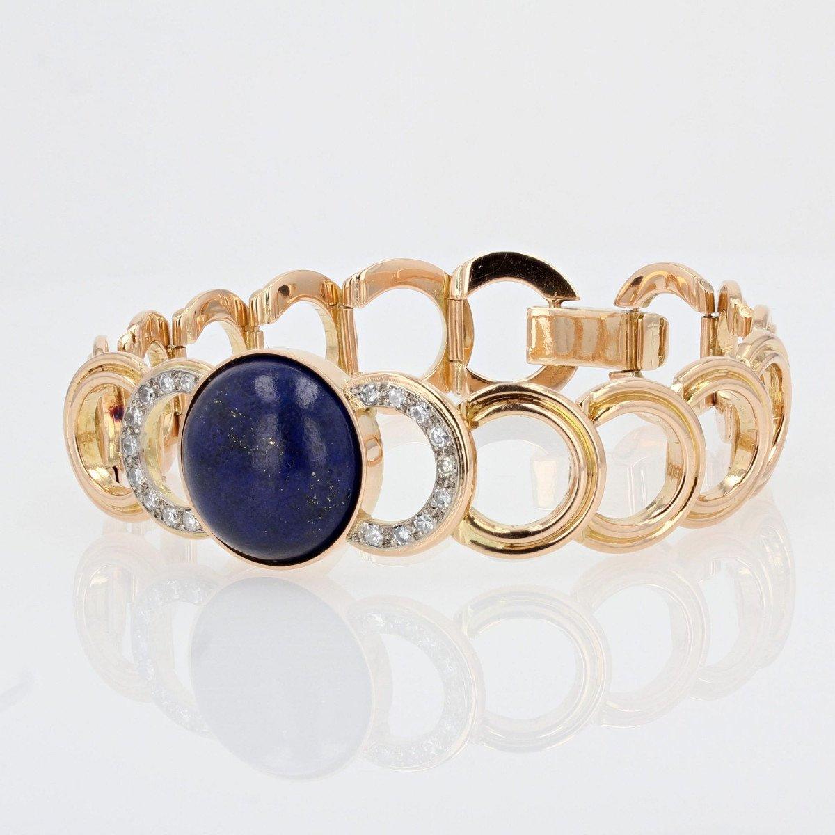 Gold Bracelet With Diamonds And Its Lapis Lazuli Cabochon-photo-4